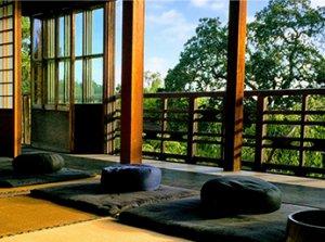 Zendo overlooking traditional Japanese garden